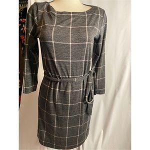 LOFT Gray & White Plaid Checked Dress
